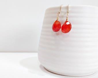 Carnelian Earrings, Carnelian Drop Earrings, Gemstone Dangle Earrings, Gold Earrings, Orange Carnelian, Metaphysical Jewelry, Gift For Her