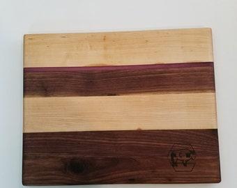 Maple, Walnut, Purple Heart Wood Cutting Board