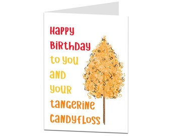 Happy Birthday Card Ginger Theme Funny For Haired Work Friend Tangerine Candyfloss
