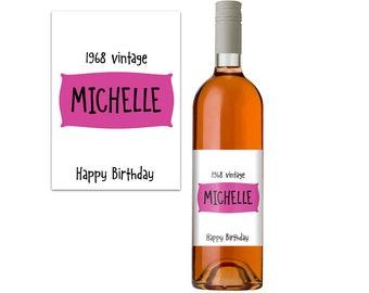 Personalised Wine Label. 50th Birthday Gift Idea. Wine Bottle Label. Funny Wine Bottle Label. Wine Gift.