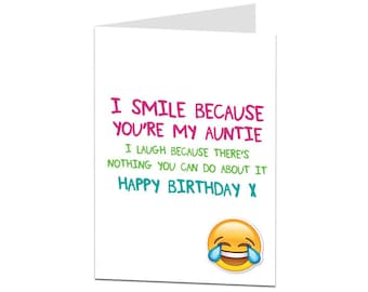 Auntie Card. Birthday Card Auntie. Happy Birthday Auntie. Auntie Birthday Card. Auntie Joke Card. Funny Birthday Card For Auntie.