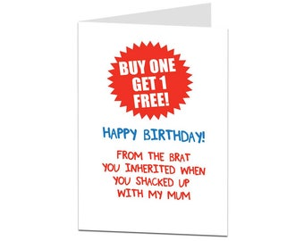 Stepdad Card. Birthday Card Stepdad. Happy Birthday Stepdad. Stepdad Birthday Card. Stepdaddy Card From The Brats - Other amounts available!