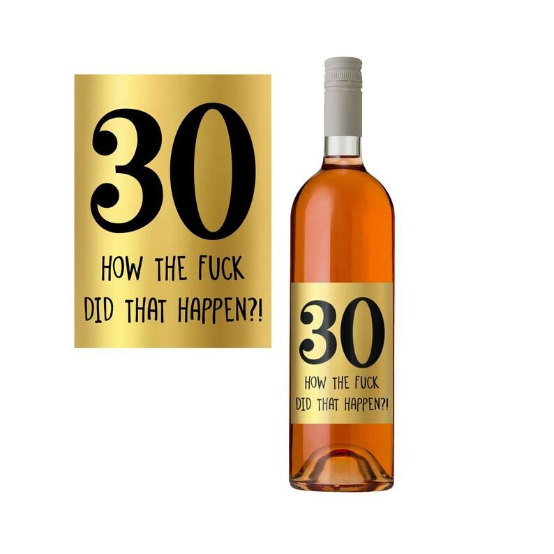Gouden Wijnetiket 30e Verjaardag Cadeau Idee Wijnfles Etsy