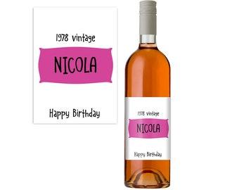 Personalised Wine Label. 40th Birthday Gift Idea. Wine Bottle Label. Funny Wine Bottle Label. Wine Gift.