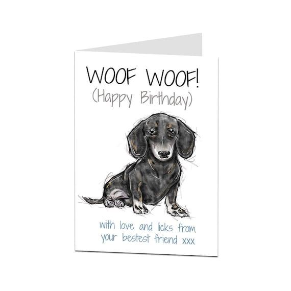 Dog Birthday Card Daschund From The