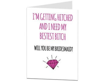 Will You Be My Bridesmaid Card? Funny Will You Be My Bridesmaid Card. Bridesmaid Card. Alternative Quirky Bestest Bitch Bridesmaid Card