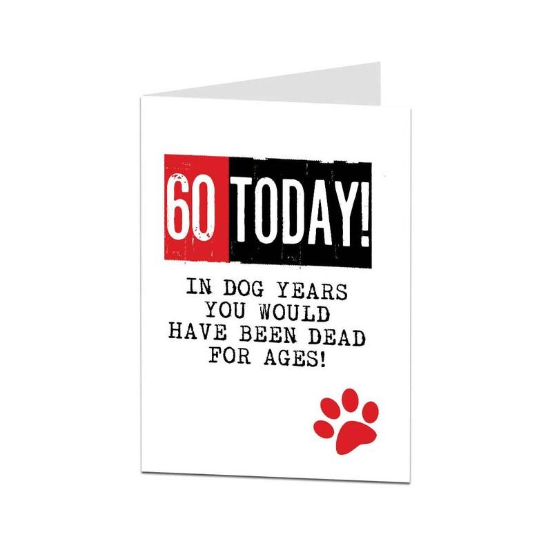 60th Birthday Card 60 Mum Dad Funny