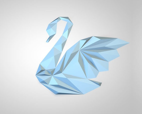 3d Papercraft Swan 3d Pdf Templatepapercraft Animals Low Etsy