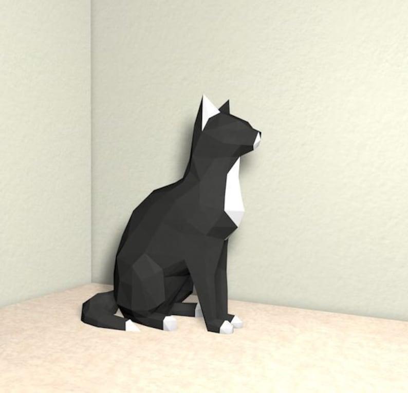 3D Papercraft Cat, Cat, 3D PDF Template,Papercraft Animals, Low Poly DIY,  DIY Paper 3D Art, 3D animal wall decor, Kitten, Kitty
