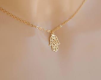 Gold Hamsa necklace, Hamsa necklace, Hamsa hand necklace, Gifts, Gold filled necklace, Simple necklace, Sveryday necklace, Selicate necklace