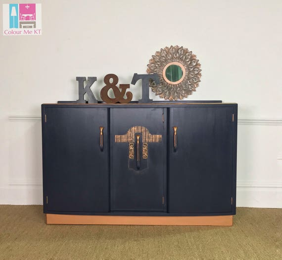 S O L D ! ! !       Copper and Navy Sideboard, Blue Sideboad, Art Deco Sideboard