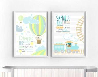 Printable Custom Baby Infographic, Birth Announcement Toy train, Hot air balloon elephant Print Nursery newborn, DIY Baby boy shower New mom