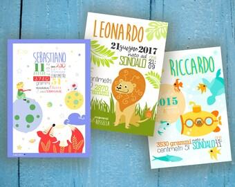 Printable Digital Baby Infographic, Little Prince nursery, Submarine nursery, Lion Birth Announcement, sea Nursery wall art, New mom gift