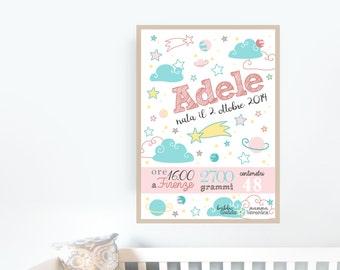 Quadretto nascita personalizzato stampabile digitale Auguri nascita bambina rosa bimba Cameretta neonata Regalo battesimo annuncio nascita