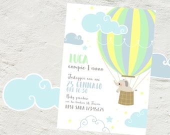 Hot air balloon Party Invitation, birthday hot air balloon, Printable baby shower, Baby elephant theme, Hot air balloon baby shower