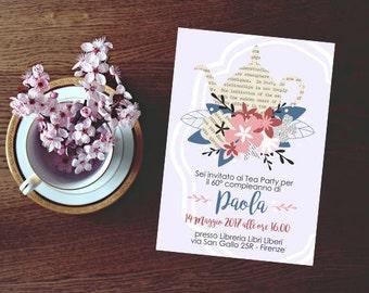 Tea party invite, teapot invitations, book themed party, teaparty invitation, floral teapot, DIY Tea party, tea invitation, shower tea party