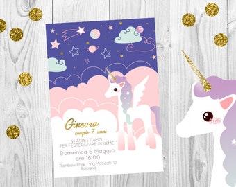 Gold magical unicorn invitation, glitter unicorn party, purple Unicorn Party Invitation, glitter unicorn invites, gold and pink unicorn