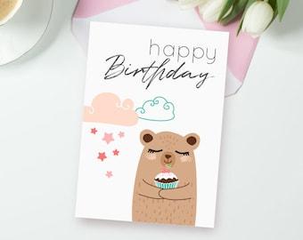 Printable card Mama bear, Mummy bear Digital greetings, Bakery party, bear greeting Cards, Mum birthday Card, mother-in-law card, sweet card