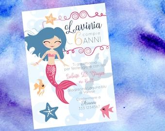 Pink mermaid, Mermaid birthday invitation, mermaid theme baby shower, little mermaid digital invite
