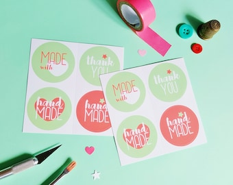 Handmade labels, Handmade with Love adhesives, Kraft stickers label, package stickers, packaging labels, labels for handmade items