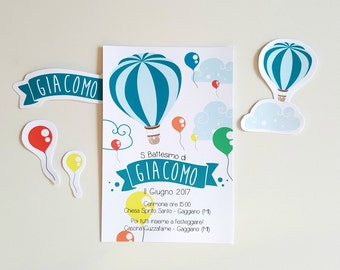 Hot air balloon and balloons invitation, Party Invitation custom birthday Printable, Hot air balloons theme, flying balloon Baby shower