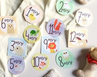 Baby Month Stickers Monthly Baby Stickers Milestone Baby Shower Gift Month by Month Baby Animals Sticker