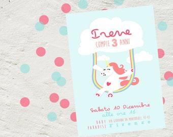 Rainbow unicorn invitation, Whimsical Rainbow Unicorn Party, digital invitation birthday, Printable Rainbow unicorn theme, swing unicorn