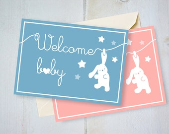 Printable card Welcome baby bunny digital instant download, Greetings birth pink newborn girl DIY New Baby girl shower rabbit plush stars