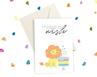 Party Animal card, funny birthday card, lion illustration, birthday boy card, kids birthday party, make a wish, dad birthday card