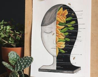 ORIGINAL PAINTING, watercolor painting, watercolor art, original art, mixed media painting, lowbrow art, - Growth