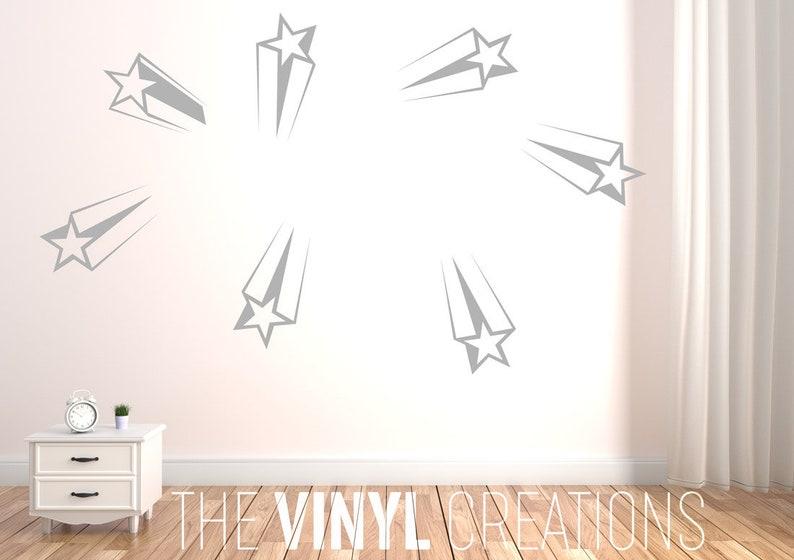 shooting stars wall decal kids bedroom decor stars sticker | etsy