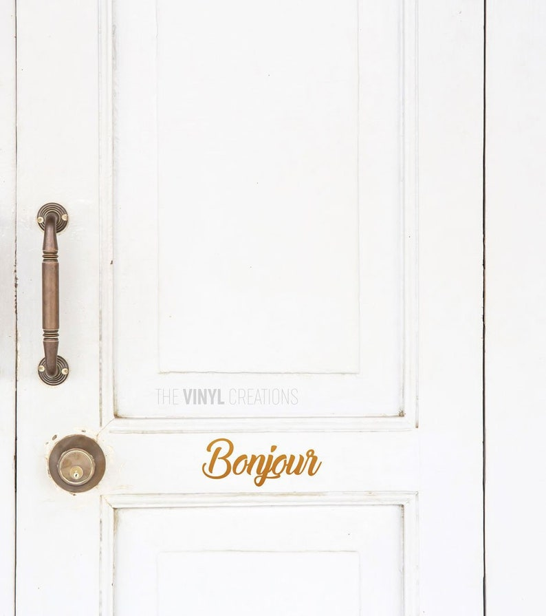 French Stickers TheVinylCreations Hello Sign Bonjour Sign Welcome Decoration New Home Decal Welcome Sign French Door Sticker