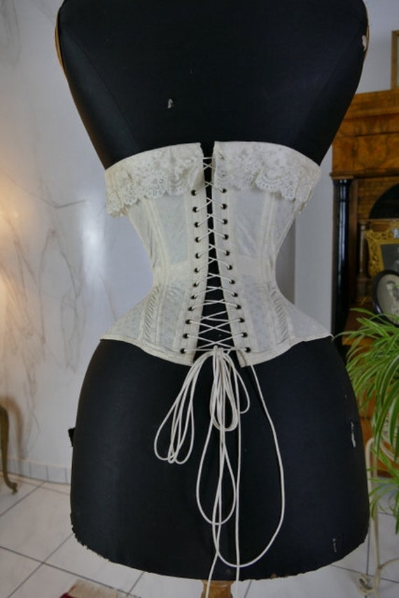 1907 Wedding Corset, antique corset, Edwardian Co… - image 7
