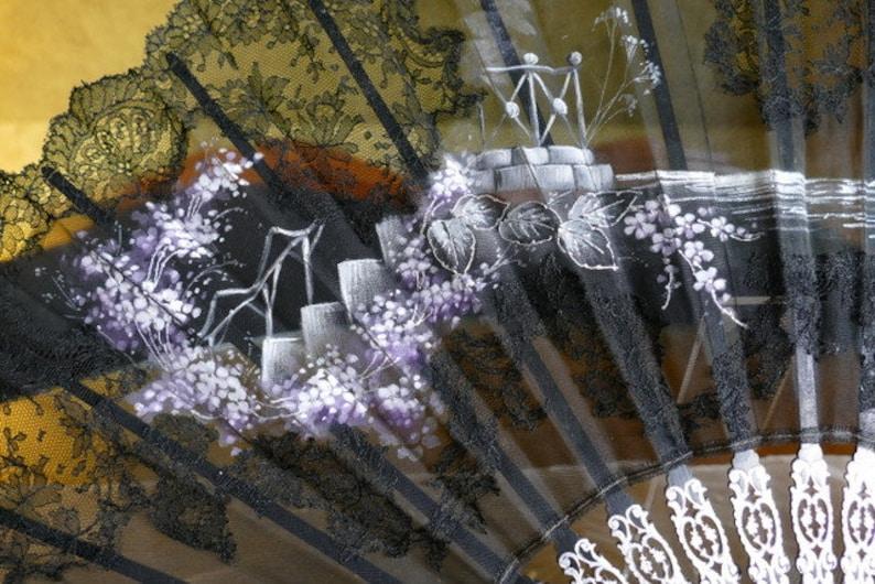 Evening fan Moor Landscape ON SALE 1908 Fan Antique Fan Edwardian Fan