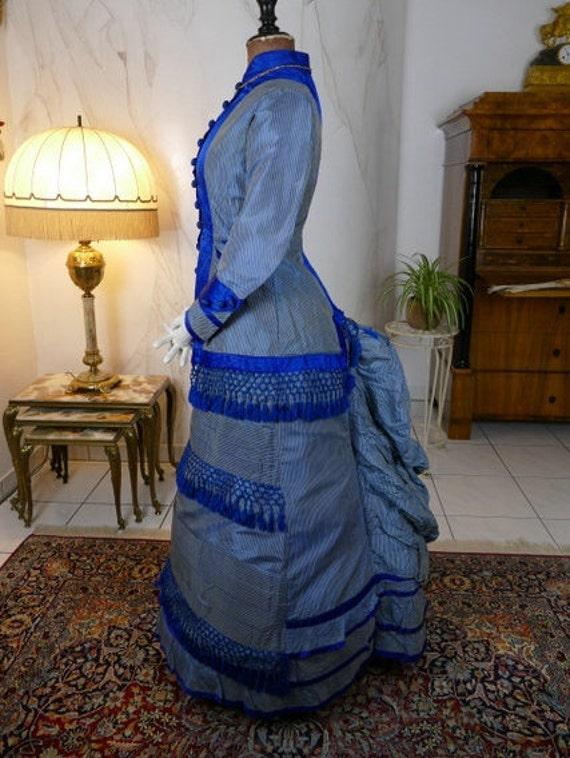 1879 Bustle Gown, Blue Princess Style Gown, antiqu