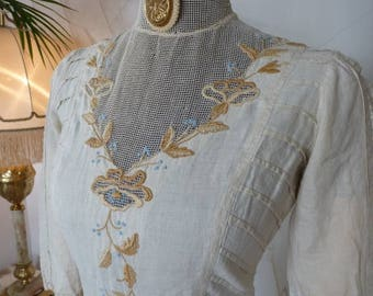 1910 Exquisite Embroidered Day Dress, antique dress, antique gown, Edwardian Dress