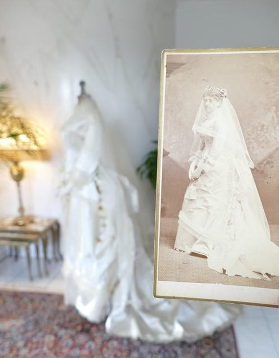 1878 Wedding Dress with the Bride Photograph, incl