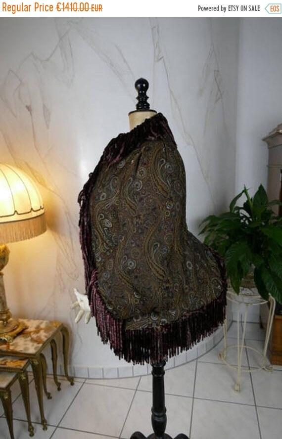 ON SALE 1880 Paisley Silk Dolman, antique dolman,