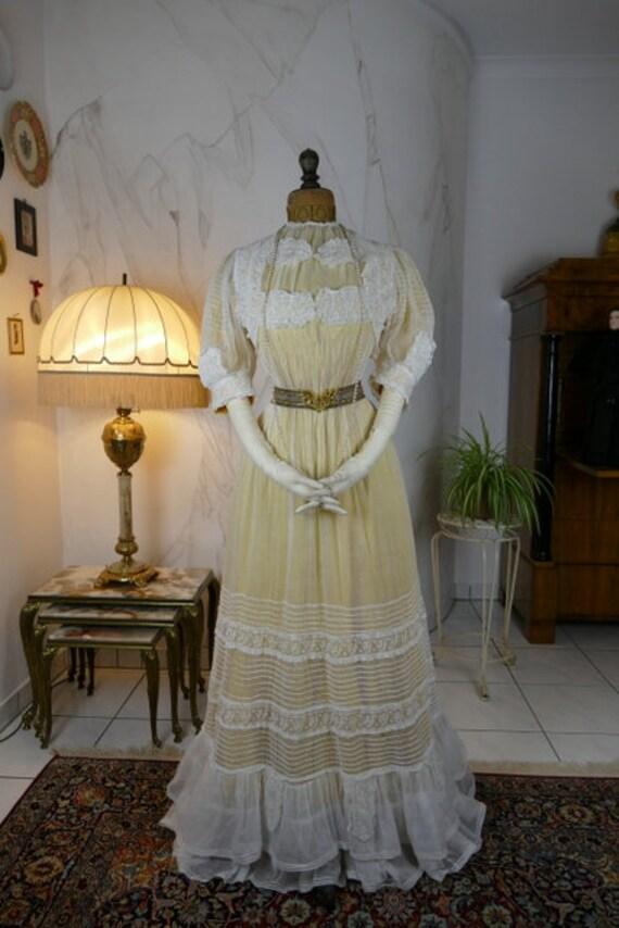 1903 Muselin Dress, antique gown, antique dress, E