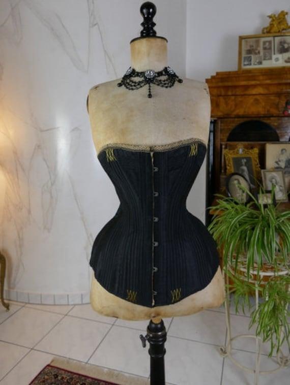 1880s Victorian Korsett, antique corset, Bustle dr