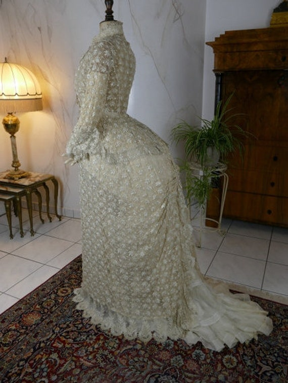 1880s Embroidered Lace Bustle Overgown, antique dr