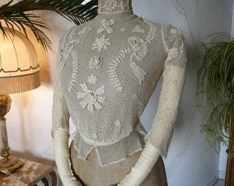 1902 Blouse, Irish Crochet, Antique Blouse, Edwardian Blouse, antique dress, gown