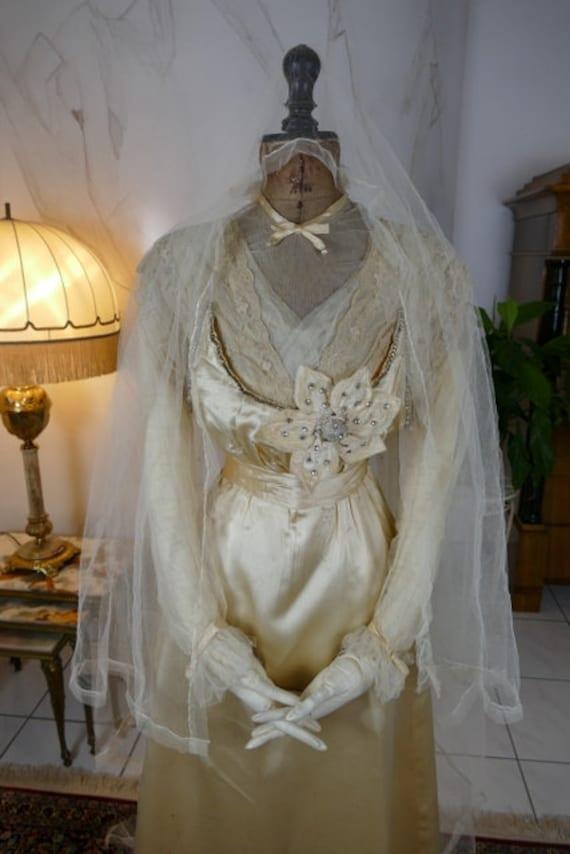 1915 Wedding Dress, antique dress, antique gown, b