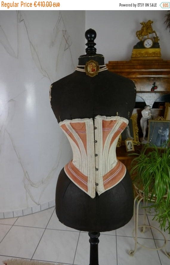 ON SALE 1880s Corset, Italy, antique corset, Victo