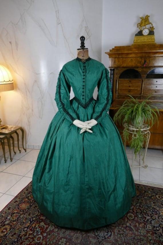 1856 Antique Crinoline Dress, antique gown, Victor