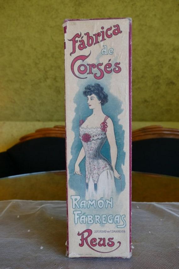 1903 FÁBREGAS Corset Box, antique corset box, Edwa