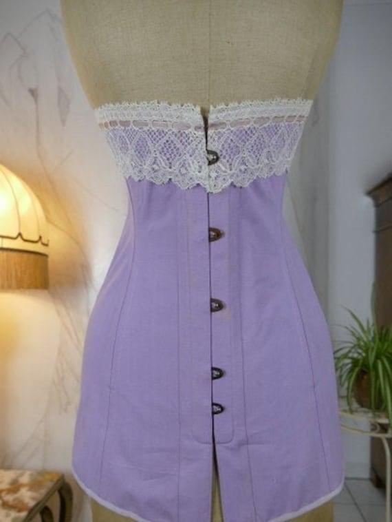 1905 Corset, antique corset, lilac Corset, Edwardi
