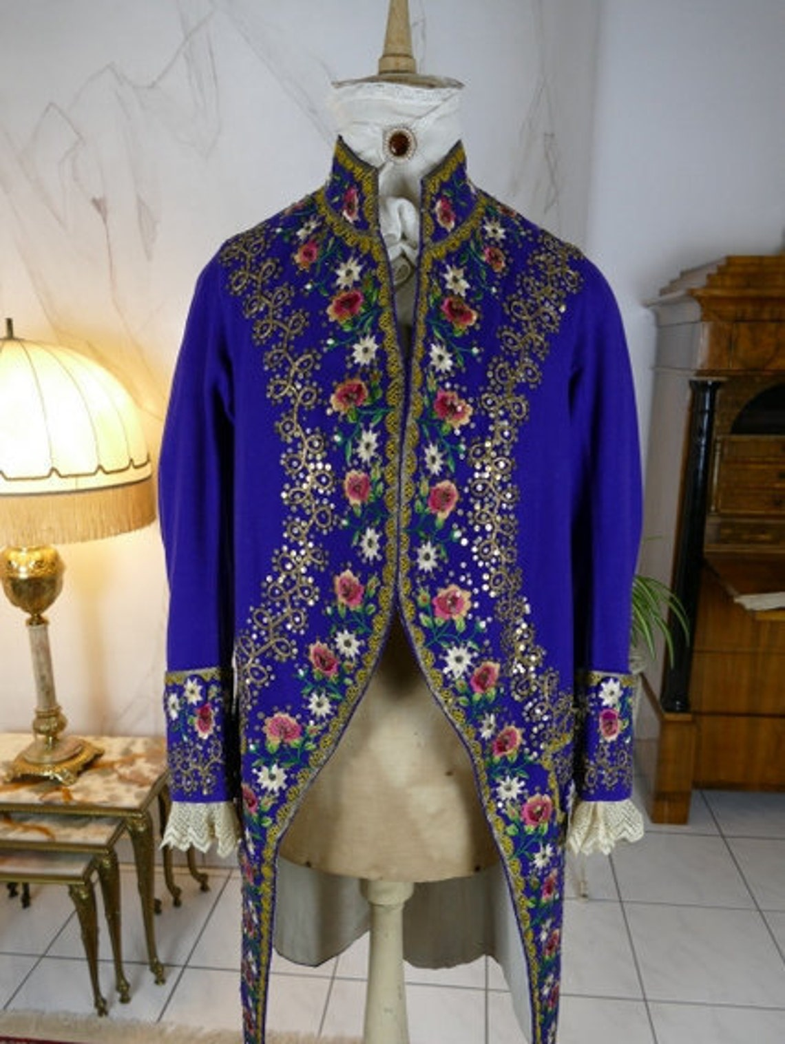 1855 Embroidered Coat, Italy, Man's Victorian Antique Dress, Gown, Dress