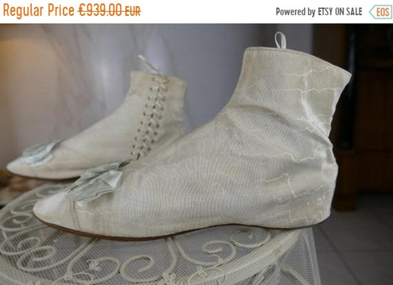 ON SALE 1830 Boots, Romantic Period boots, Biedermeier Boots, antique wedding boots, antike Stiefel, antique shoes