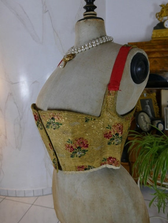 1798 Rococo Bodice, antique dress, antique gown, R
